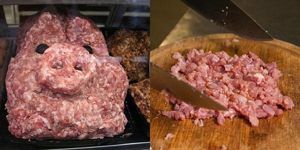 фарш через мясорубку и рубленный