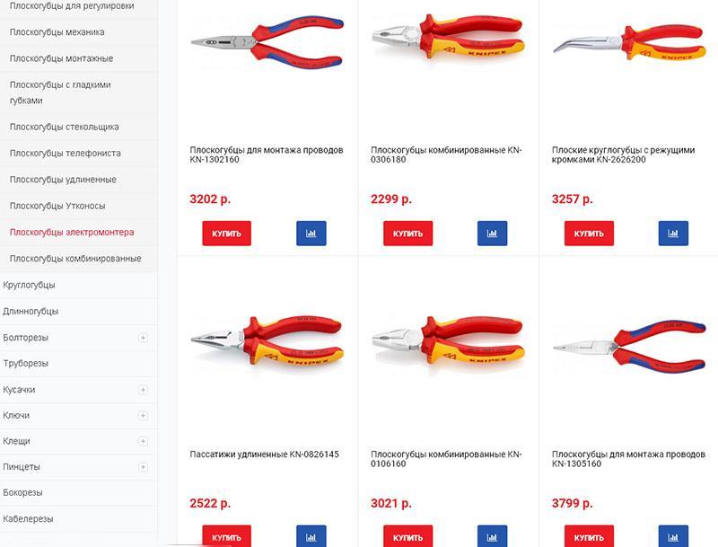 плоскогубцы в интернет-магазинах