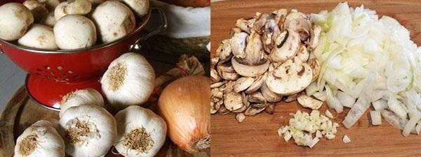 почистить и нарезать грибы и лук