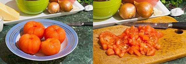 очистить и измельчить помидоры