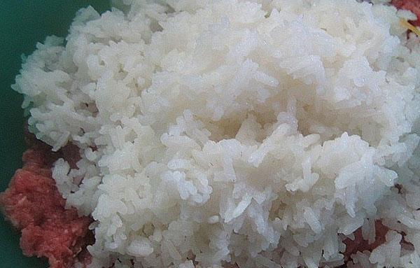 смешать фарш с рисом