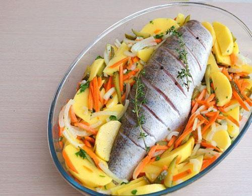 выложить овощи и рыбу в форму