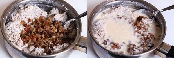добавить изюм и залить соусом
