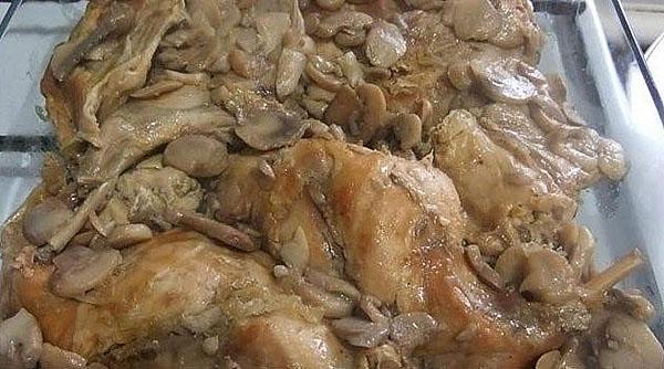 кролик, запеченный с грибами