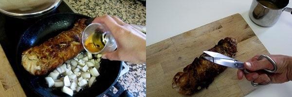добавить масло и лук