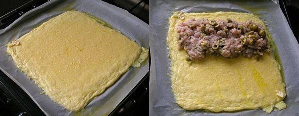 на сырный пласт и выложить фарш