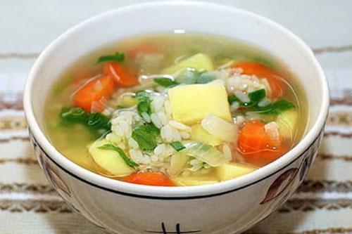 суп с рисом картофелем и мясом