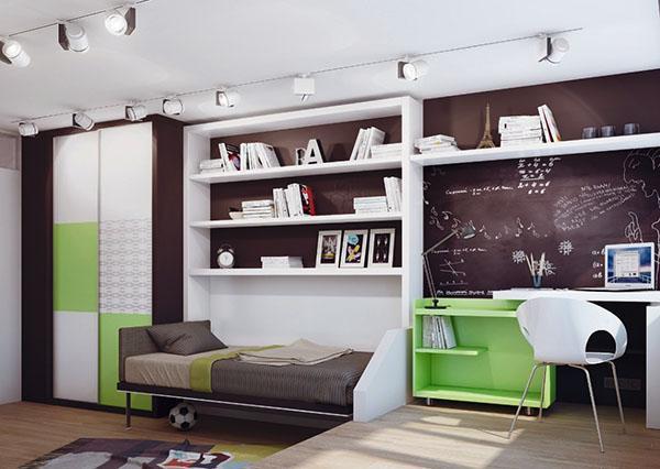 освещение и мебель в комнате мальчика