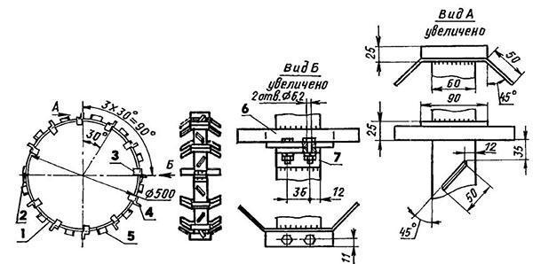 чертеж колеса с грунтозацепами