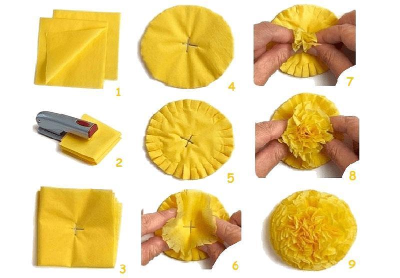 изготовление цветов из салфеток