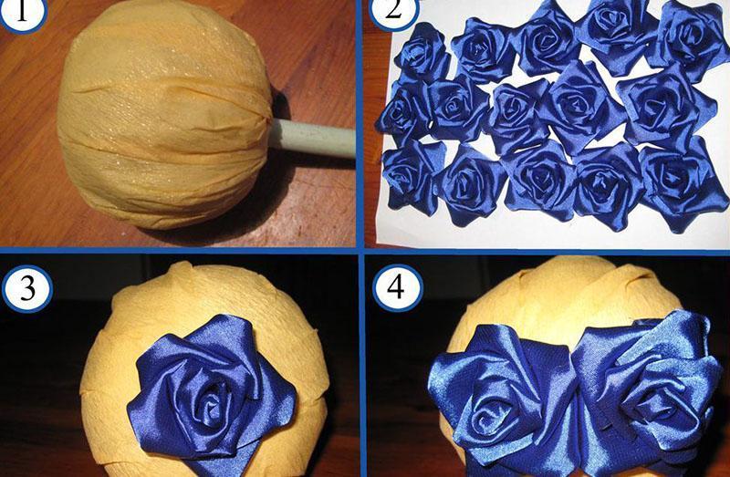 изготовление цветов из ленты