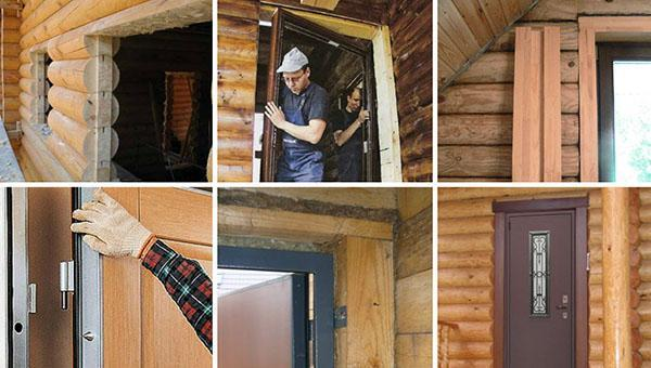 этапы установки двери в деревянном доме