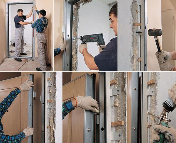 установка двери в газобетон