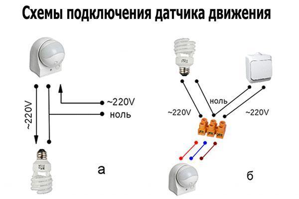 два вида подключения датчика