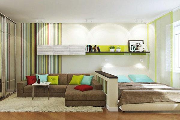 зонирование комнаты мебелью