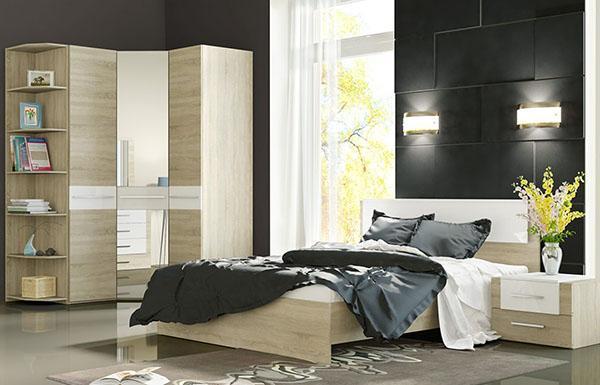 модель углового шкафа купе для спальни