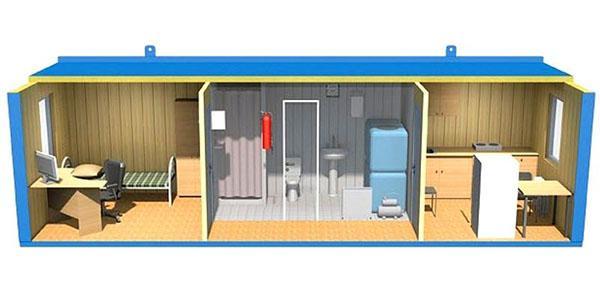 зимняя бытовка с печкой, туалетом и душем