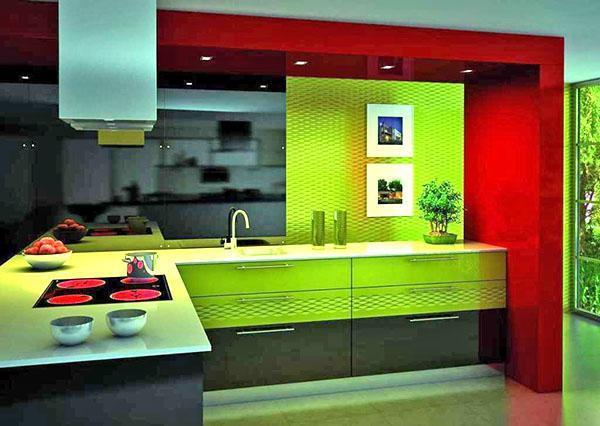 яркие цвета в дизайне кухне
