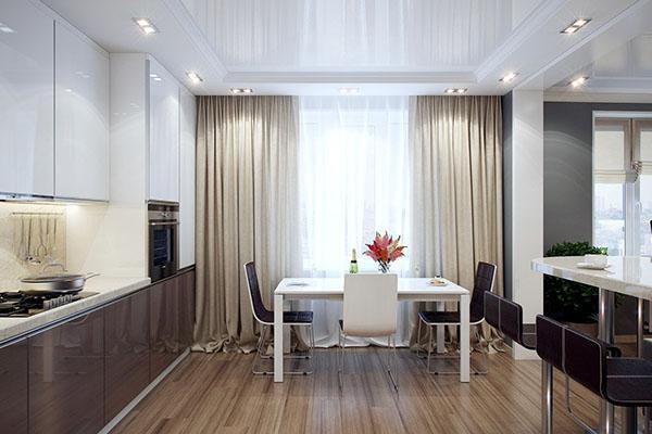 кухонные шторы в квартире-студии