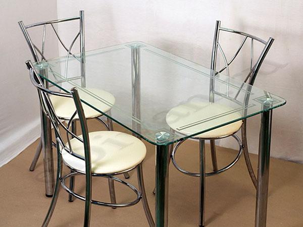 сплошной стеклянный стол