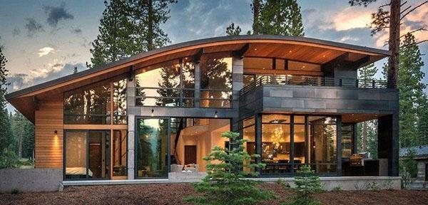 округлая односкатная крыша