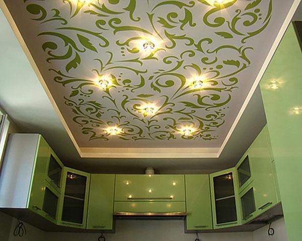 дизайнерский потолок для кухни