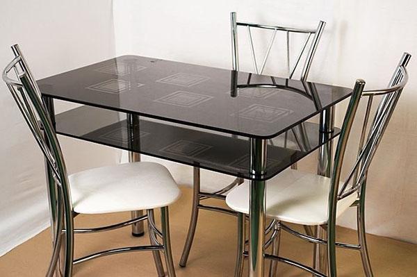 стол из черного стекла