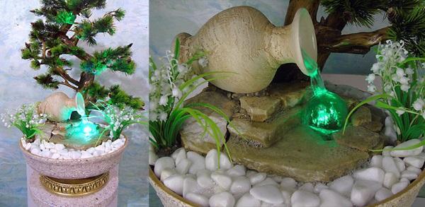 фонтанчик из кувшина с подсветкой