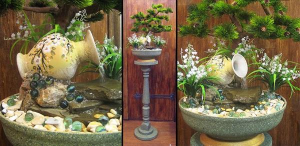 композиция из бонсая и комнатного фонтанчика