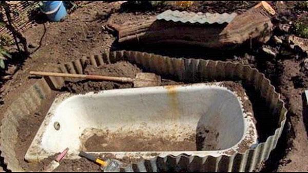 устройство фонтана из старой ванны