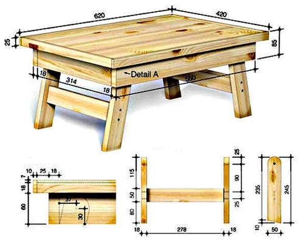 чертеж деревянного столика