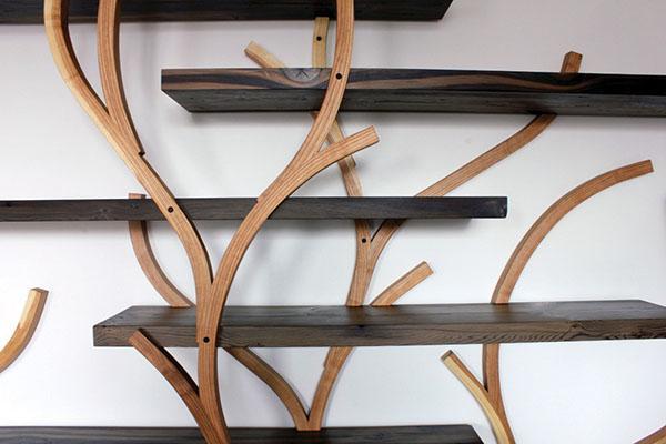 оригинальный дизайн полки из дерева