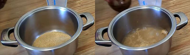 залить крупу водой и варить