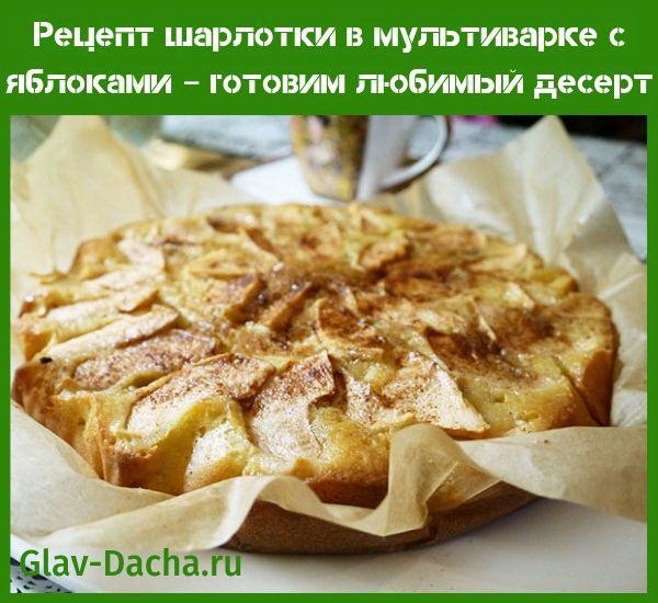 Рецепт шарлотки в мультиварке с яблоками