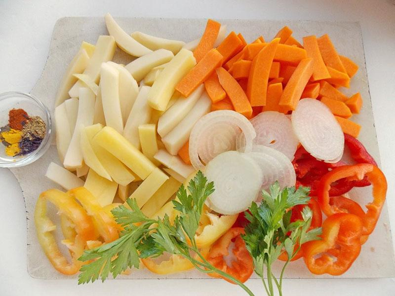 нарезка овощей для запекания