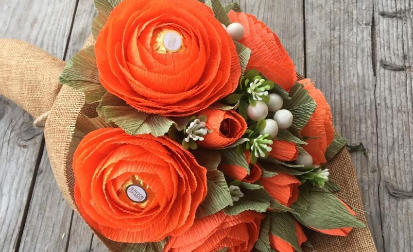 осенний букет своими руками розы из конфет