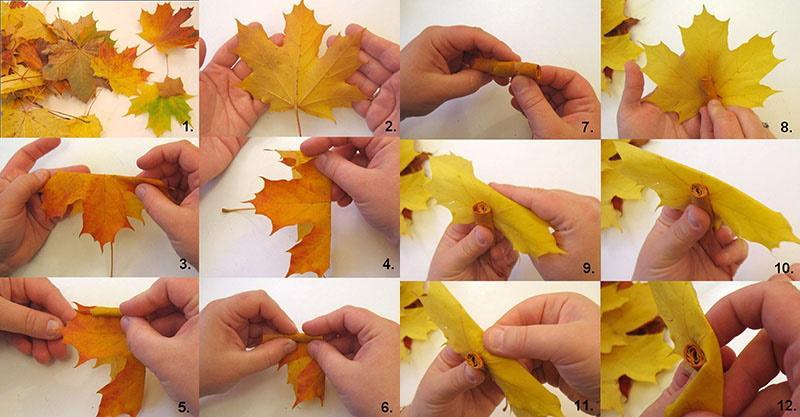 пошаговое изготовление букета из кленовых листьев