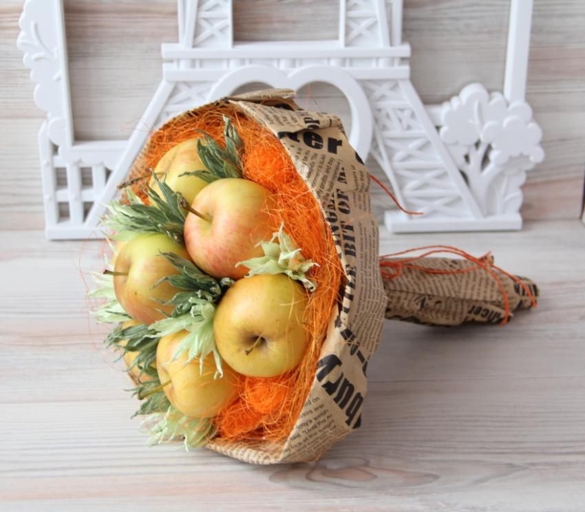 осенний букет своими руками из фруктов