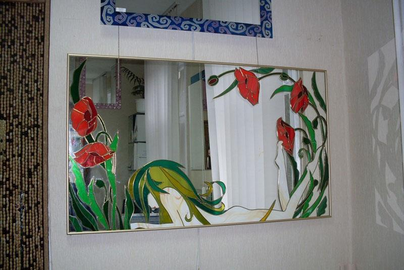 художественная роспись на старом зеркале