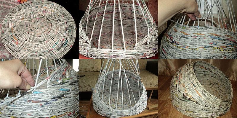процесс плетения домика корзины