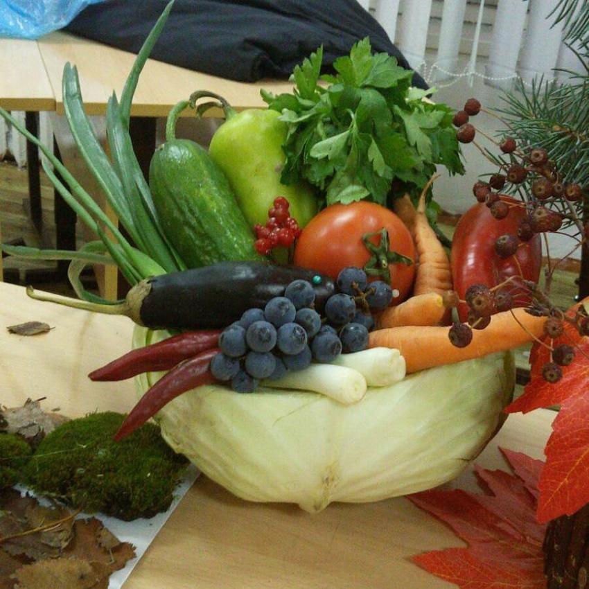 как сделать композицию из овощей