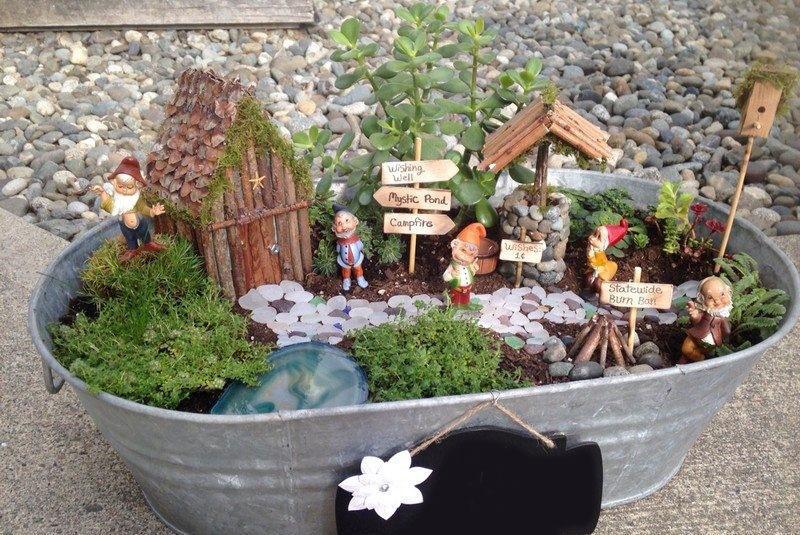 мини сад своими руками в старом тазу