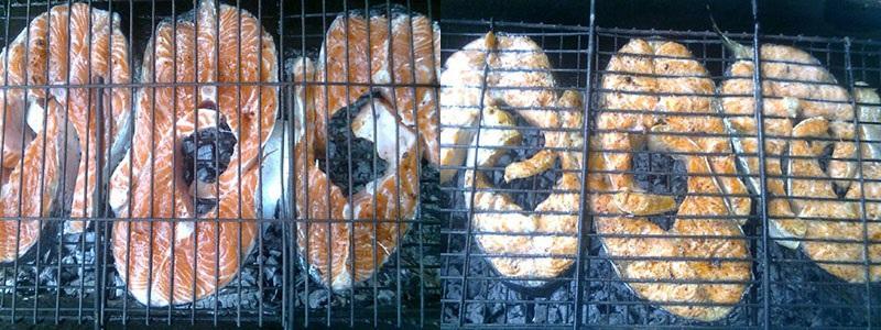процесс обжарки рыбных стейков
