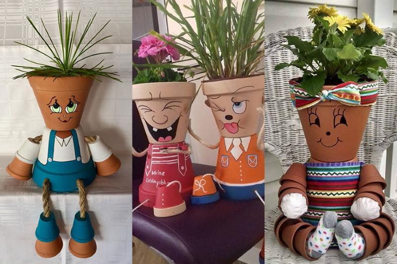 поделки из цветочных горшков забавные человечки