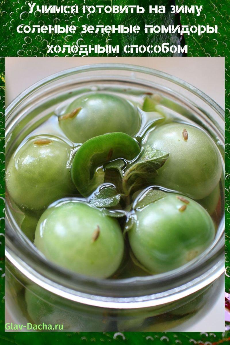 соленые зеленые помидоры холодным способом