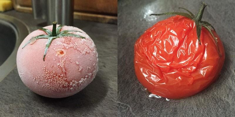 замороженный и размороженный плод томата